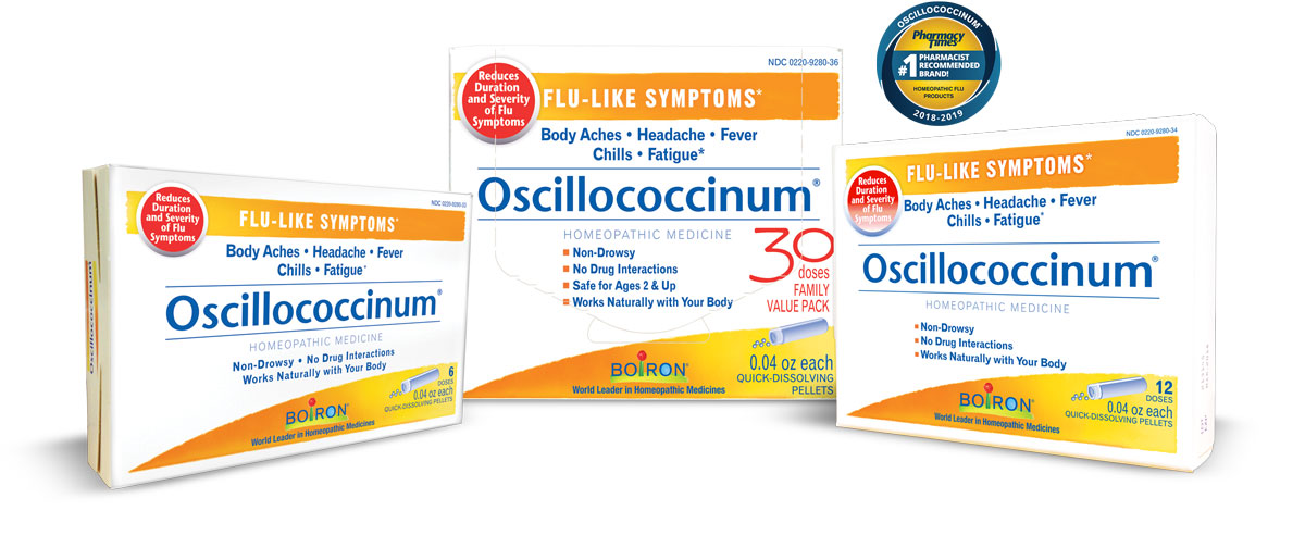 Group of Oscillo boxes, in 6 dose, 30 dose, and 12 dose, and Pharmacy Times US News and World Report award for #1 Homeopathic Flu Product.